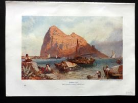 Cassell 1902 Antique Print. Gibraltar from a drawing by Birket Foster